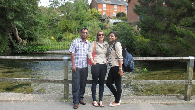 Me with the two project PIs next to the beautiful River Itchen in Winchester