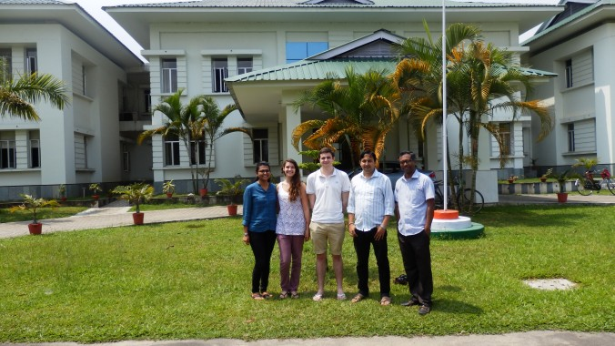 Us with the project team in the grounds of TTRI. Left to right: Sukanya, Connie, Patrick, Debojit and Niladri