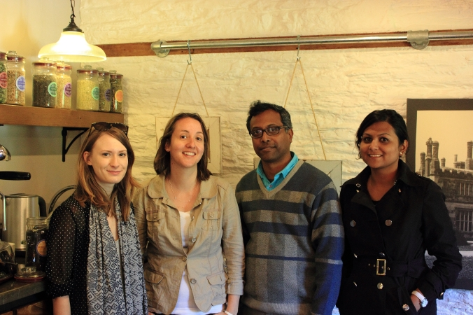 The team in Tregonthan's tea tasting room: Catherine, Ellie, Niladri, Sukanya